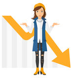 Woman with declining chart stock illustration