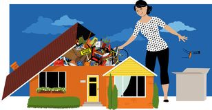 Getting rid of the clutter. Woman decluttering, throwing away things from a house, overflown by stuff, EPS 8 vector illustration Royalty Free Stock Photos