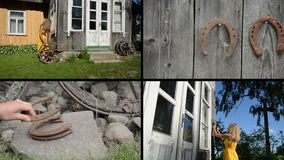 Woman decorate house with wheel and horse shoe. Video collage stock footage