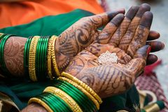 Traditional mehendi henna decoration royalty free stock photo