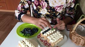 A woman decorates a cake with mint leaves. Layers of savoiardi cookies and cream layers are decorated with blueberries