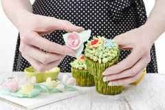 Woman decorates easter cupcakes Royalty Free Stock Image