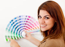 Woman decorating her house Royalty Free Stock Image