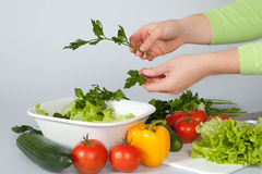 Woman decorating salad Royalty Free Stock Images