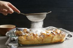Woman decorating tasty bread pudding with sugar powder. Closeup stock photo