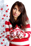 Woman Decorating White Christmas Tree Stock Photography