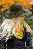 Woman in a decorative hat Royalty Free Stock Images
