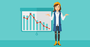 Woman with decreasing chart. royalty free illustration