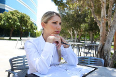 Woman in Deep Concentration Stock Images