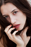 Woman with a deep piercing eyes Stock Photography