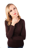 Woman in deep thought Stock Images