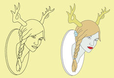 Woman and deer ornament Royalty Free Stock Image
