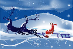 Woman on deer sleigh blue illustration Royalty Free Stock Image