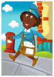 The woman delivering mail - illustration for the children Royalty Free Stock Photos
