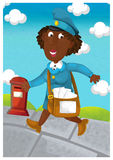 The woman delivering mail - illustration for the children Royalty Free Stock Photo