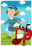 The woman delivering mail - illustration for the children Stock Photo