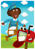 The woman delivering mail - illustration for the children Stock Images