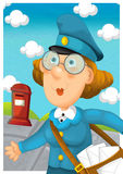 The woman delivering mail - illustration for the children Stock Photography