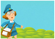 The woman delivering mail - illustration for the children Royalty Free Stock Photography