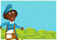 The woman delivering mail - illustration for the children Royalty Free Stock Images