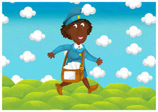The woman delivering mail - illustration for the children Stock Photos