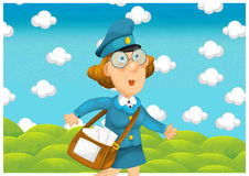 The woman delivering mail - illustration for the children Royalty Free Stock Image