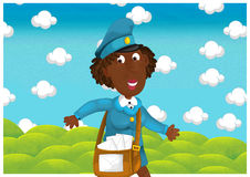 The woman delivering mail - illustration for the children Stock Image