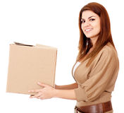 Woman delivering a package Royalty Free Stock Images