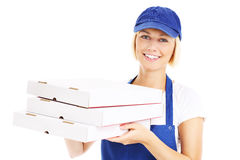 Woman delivering pizza Royalty Free Stock Images