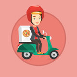 Woman delivering pizza on scooter. Royalty Free Stock Photography