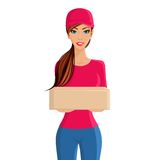 Woman delivery person portrait Royalty Free Stock Image