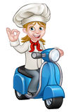Woman Delivery Scooter Female Chef Royalty Free Stock Images