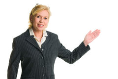 Woman demonstrate. Caucasian businesswoman demonstrate something, white isolated background Stock Photography