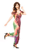 Woman demonstrates evening gown Royalty Free Stock Images
