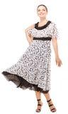 Woman demonstrates polka-dot dress Royalty Free Stock Image