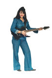 Woman in denim clothes with guitar Stock Photos