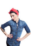 Woman in denim shirt. With red kerchief holding hands on hips Stock Images