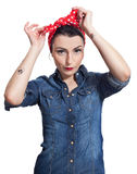 Woman in denim shirt. With red kerchief Stock Image