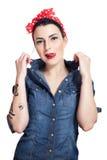 Woman in denim shirt Royalty Free Stock Image
