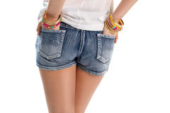 Woman in denim shorts. Stock Image