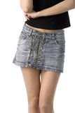 Woman in denim skirt Royalty Free Stock Photography