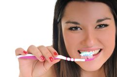 Woman dental care. Dental care concept with beautiful smilling young  woman and tooth brush Stock Image