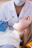 Woman on dental check Royalty Free Stock Images