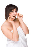 Woman with dental floss Stock Image