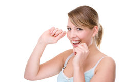 Woman with dental floss Royalty Free Stock Images