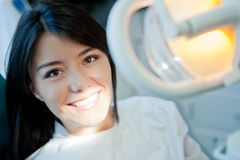 Woman at the dentist Stock Photos