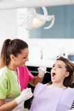 Woman dentist checking her patient Stock Images
