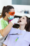 Woman dentist checking her patient's teeth Stock Photos