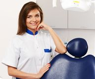 Woman dentist in dentist's surgery Royalty Free Stock Photo
