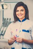 Woman dentist at dentist's surgery Royalty Free Stock Photography